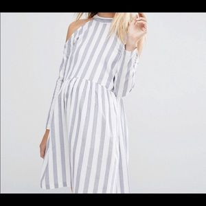 ASOS Cold Shoulder Striped Dress Size 4